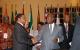 Presidents Jakaaya Kikwete and Yoweri Museveni chat at CHOGM retreat