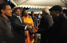 President arrives in Addis for Premier Zenawi's funeral