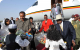 President Isaias Afewerki (left) welcoming President Museveni (in hat)