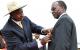 Porf Lawrence Mukiibi receiving his Crested crane