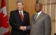 President Yoweri Museveni with Canadian Prime Minister Steven Harper