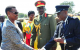 First Lady/Minister of Karamoja Janet Museveni being received by Service Chiefs