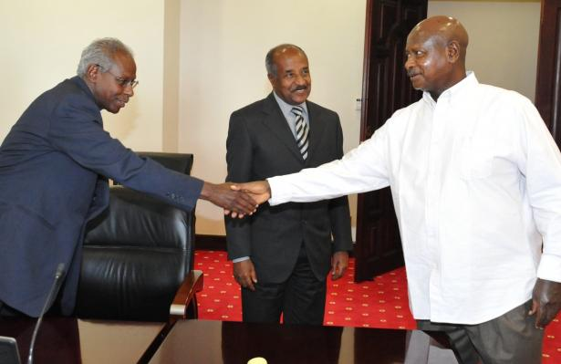 Museveni receiving Beyene Rossom and Minister of Foreign Affairs of Eritrea H E