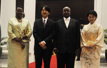 L-R)Princess Kiko,First Lady Janet Museveni,Prince Akishino and President Museve