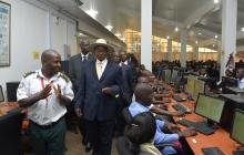President Museveni visits the National IDs processing center at Kololo