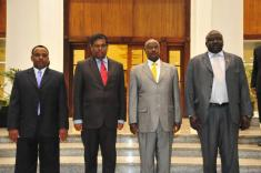 President Yoweri Museveni (2nd right) chatting with the new Sri-Lanka's High Com
