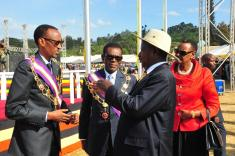 President Museveni awards President Kagame and President Nguema the Most Excelle