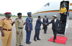 President Yoweri Museveni and his wife Janet Museveni return home from South