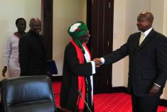 President Yoweri Museveni welcoming Supreme Mufti Zubairi Kayongo (left)